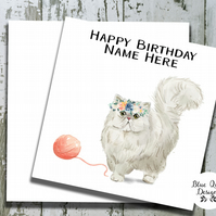 Personalised Birthday Card - Curious Cats - White Persian Cat