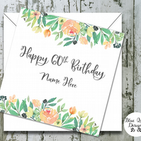 Personalised Birthday Card - Tuscan Summer Watercolour Flowers
