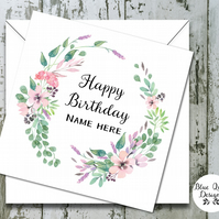 Personalised Birthday Card - Spellbound Watercolour Flower Wreath