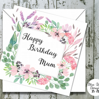 Personalised Birthday Card - Spellbound Watercolour Flower Border