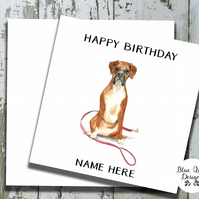 Personalised Birthday Card - Canine Capers - Boxer Walkies