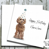 Personalised Birthday Card - Canine Capers - Brown Cockapoo