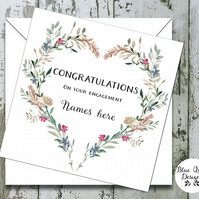 Personalised Wedding, Engagement Card - Watercolour Print - Heart Wreath