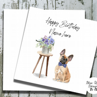 Personalised Birthday Card - Canine Capers - French Bulldog with Bow Tie