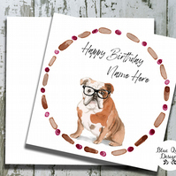 Personalised Birthday Card - Canine Capers - English Bulldog