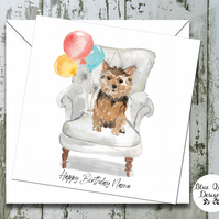 Personalised Birthday Card - Canine Capers - Norfolk Terrier