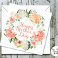 Mother's Day Card - Watercolour Peach and Cream Wreath