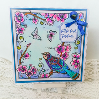 Handmade Birthday Card Folk Floral