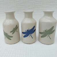 Stoneware bud vase with a dragonfly decoration