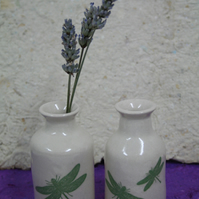 Stoneware bud vase with one or two dragonfly decorations