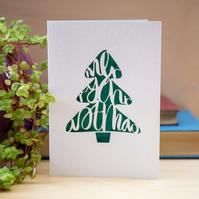 Laser Cut Merry Christmas Tree Card