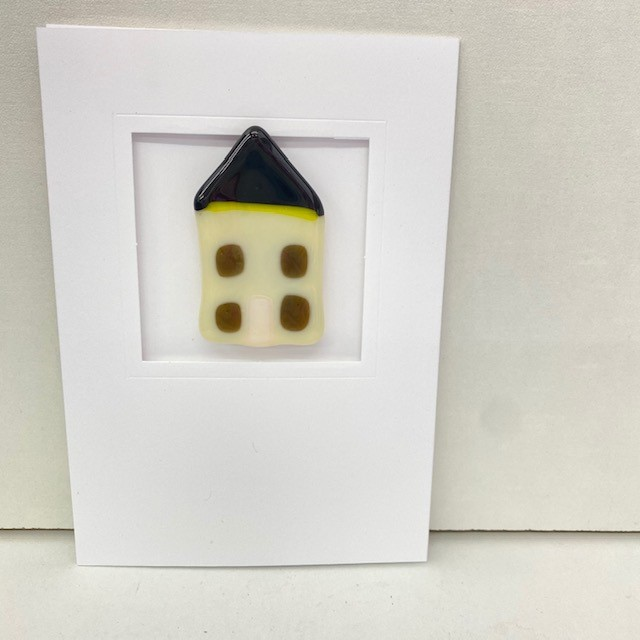 Fused Glass House Magnet and Card