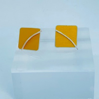 Anodised Aluminium and Sterling Silver Earrings - Two in one