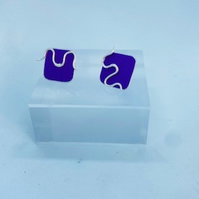 2 In 1 Anodised Aluminium and Sterling Silver Stud Squiggle wiggle Earrings