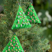 Three Hand Embroidered Christmas Bauble Hanging Decorations
