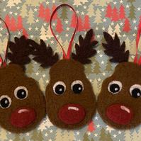 Set of 3 Needle Felt Rudolph Reindeer Bauble Decorations (Free UK Shipping)