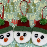 Set of 3 Needle Felt Snowmen Bauble Decorations (Free UK Shipping)