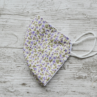 Lilac Flower Face Mask Covering, Washable