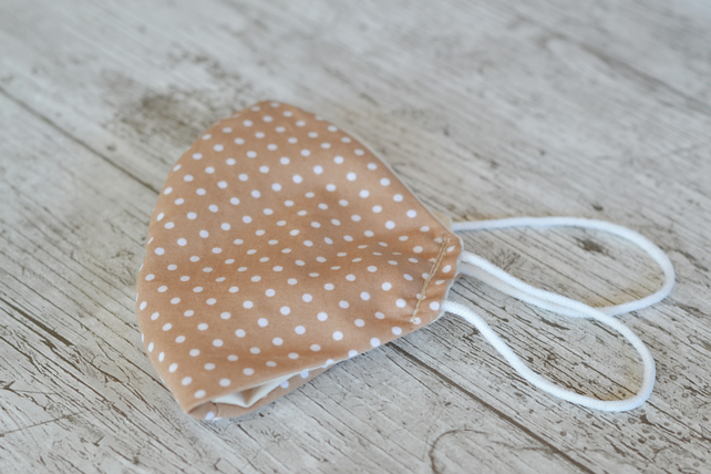 Mocha  Polka Dot Cotton Face Mask, Washable