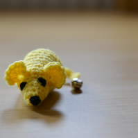 Yellow Hand Crochet Mouse Cats Play Toy Catnip or No Catnip