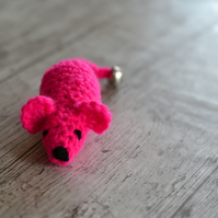 HotPink  Hand Crochet Mouse Cats Play Toy Catnip or No Catnip