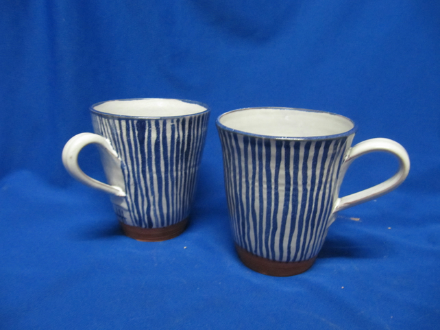 Two Stripey hand-thrown large mugs              114