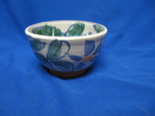 Small hand-thrown bowl, blue flowers design                                  117