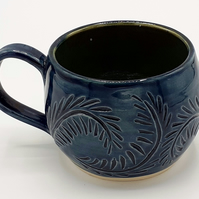 Blue and Green Hand Thrown and Carved Large Mug