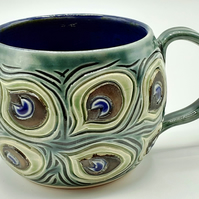 Peacock Feather Hand Thrown and Carved Mug