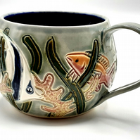 Tropical fish Hand Thrown and Carved Mug