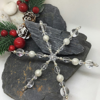 Silver Snowflake Hanging Decoration Item Code D7
