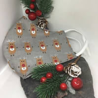 Grey Fabric Reindeer Print Face Covering item code FC4