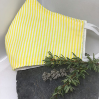 Yellow & White Candy Stripe Face Covering Item Code FC18