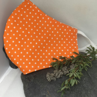 Orange & White Spotty Face Covering Item Code FC20