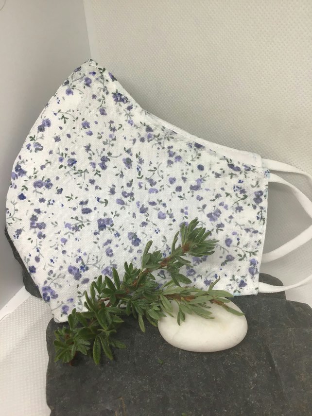 Pretty Blue Floral Ditsy Face Covering Free P&P