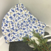 Pretty Blue Floral Face Covering Item Code FC13