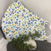 Blue and Yellow Floral Print Face Covering Item Code FC21
