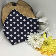 Navy and White Polka Dot Face Mask Free P&P