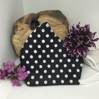 Black and White Polka Dot Face Mask Free P&P