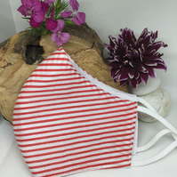 Red & White Stripe Face Mask Free P&P
