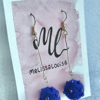 Royal blue long earrings