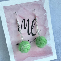 Green beaded stem earrings