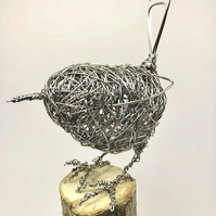 Wire Bird Sculpture - Wren