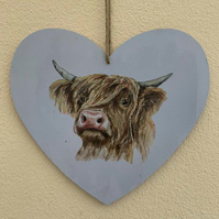 Dusty blue highland heart head