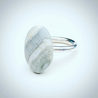 Solid Silver Halo Ring with Pebble