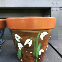 Hand painted terracotta pot, snowdrops,13cm pot, floral painted planter