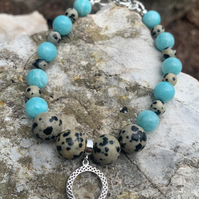 FAB HANDMADE DALMATIAN JASPER AND AMAZONITE BRACELET WITH STERLING SILVER CHARM