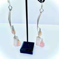 BEAUTIFUL HANDMADE PINK OPAL TRIPLE DROP SILVER EARRINGS