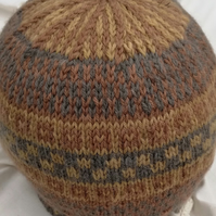 Fair Isle, Wool and Alpaca, Hand Dyed, Knitted Hat