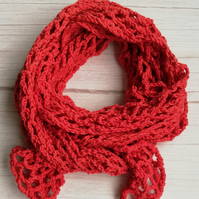 Rowan Pima Cotton Crochet Scarf in Burnt Orange